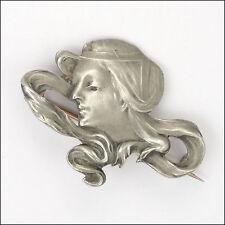 Art Nouveau o Jugendstil 900 Plata Dama Pin