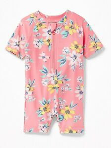 Old Navy Baby Girl's Pink Floral Rashguard One Piece Swim Suit NWT 6-12 M