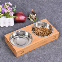 Double Bowls Raised Stand For Cat Pet Dog Puppy Stainless Steel Feeder Food Bowl