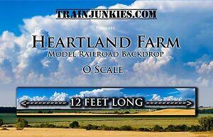 "TrainJunkies O Scale Heartland Farms Model Railorad Backdrop 24x144"""