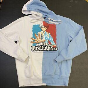 Adult My Hero Academia Hoodie Sweatshirt XS Cartoon Split Color Blue TV Movie