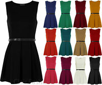 New Ladies Belted Flared Skater Short Mini Dress Sleeveless Pleated Womens 8-14