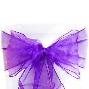 10 Dark Purple Organza Sashes Chair Covers Wedding Party Event Decoration Decor