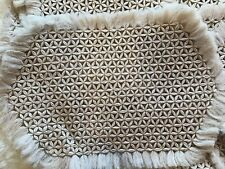 Crochet  6 Place Mats Table Setting Flower Cross Cream Tan Gold Pattern Holiday