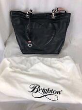 BRIGHTON JODI Stitched Heart Leather Shoulder Tote Carryall Purse Bag Black