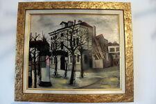 """Elisée MACLET Huile sur toile """"Maisons à Montmartre"""" tableau peinture HST Genin"""