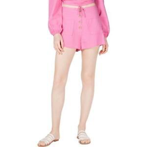 4SI3NNA Womens Linen Blend High Rise Short Cargo Shorts BHFO 8919