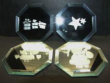 Glasuntersetzter mit Weihnachtsmotiven, 4er Set, Glas, 8-eckig, Luxuriös