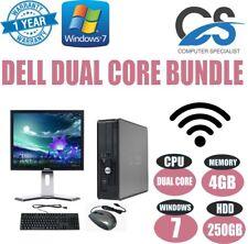Windows 7 Kompletter Dell Computer Desktop Tower Set Pc 4GB Ram 250GB HDD Wifi