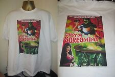 CARRY ON SCREAMING-CLASSIC 1966 CINEMA POSTER  PRINT T SHIRT-WHITE- EXTRA LARGE