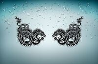 2x autocollant sticker voiture moto scrapbooking tuning dragon serpent tribal r2