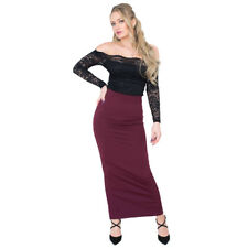 Womens Maxi Skirt Black Bodycon Long Sidesplit Pencil - 8, 10, 12, 14, 16, 18