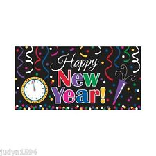 HAPPY NEW YEAR BANNER PARTY WALL HANGING DECORATION POSTER JEWEL TONE CLOCK HORN