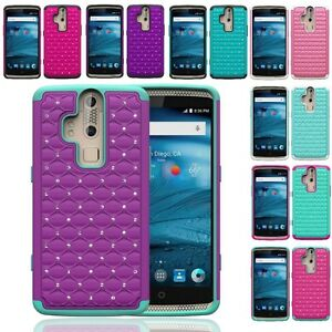 For ZTE Axon Pro A1P Hybrid Hard Diamond Bling Cell Phone Case Skin Rubber Cover