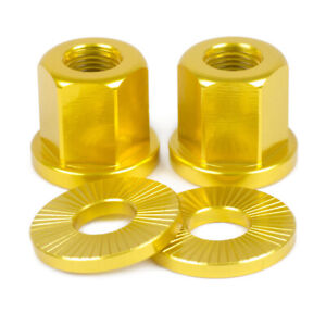 2 x SHADOW CONSPIRACY BMX BICYCLE AXLE NUTS WASHERS 3/8 HARO CULT SE GT GOLD