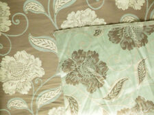 Reversible floral damask curtain or cushion fabric, light pastel green brown