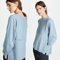 Vince Side Slit Boatneck Sweater Glass Blue Size XS Wool Cashmere $325