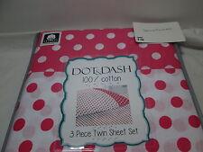NEW Dot & Dash POLKA DOTS Cotton Twin Sheet Set ~ Pink and White NIP