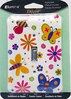 Girls Butterfly Flower Power Light Wall Switch Plate Metal New