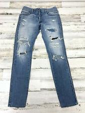 $1500 Balmain Paris Mens Style Biker Distressed Denim Blue Jeans Size 30 Zip