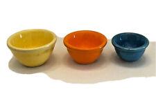 3 FIESTA Colored NESTING BOWLS Yellow Orange & Blue Dollhouse Miniature 1:12
