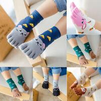 Toddler Baby Girls Boys Cute Cartoon Animals Five Fingers Anti Slip Cotton Socks