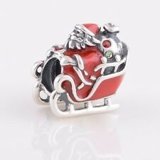SANTA Claus-Father Christmas-Presents-Sleigh-Bag- 925 sterling silver charm bead