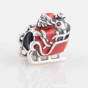 SANTA Claus-Father Christmas-Presents-Sleigh-Bag- 925 sterling silver charm bead