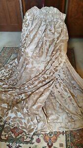 "Fantastic huge pair of silky and chenile MTM mushroom curtains 150"" w x 74"" d"