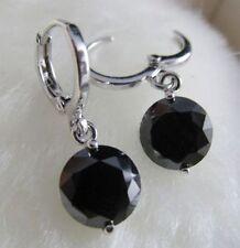 Platinum Plated 9mm Black Zircon Crystal Drop Earrings
