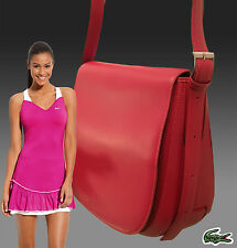 LACOSTE Ladies Womens Shoulder Messenger Bag Paseo 4 Leather Red AUTHENTIC
