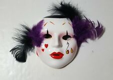 "Tears 7"" Porcelain Hand Painted Face Mask Mardi Gras Gypsy Clown Jester"