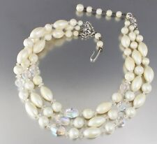 VINTAGE 50s MULTI 3 STRAND OFF WHITE PLASTIC PEARL & CRYSTAL GLASS BEAD NECKLACE