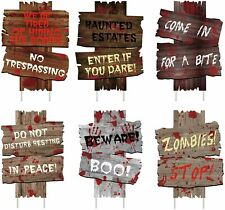 New Listing6Pcs Halloween Decorations Yard Signs Stakes Beware Props Outdoor Decor Scary