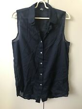 American Apparel Shirt Blouse Top SiZe Xs/s 6-8 Navy Blue