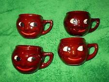 """McCoy USA """"Man in the Moon"""" hand painted coffee mugs lot of 4"""