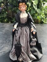 Vtg Art Sculpture Ceramic Lady Figure Paper Mache Woman Figurine Hand Made Doll