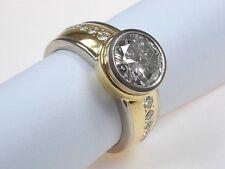 Runde solitäre Echtschmuck-Ringe aus mehrfarbigem Gold