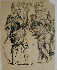 Unknown Artist, ink on Paper, Two Warriors, 21 x 16cm, 18th 19th Century