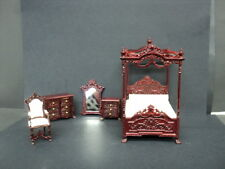 DOLLHOUSE BEDROOM SET/ 5-PC./ MAHOGANY/ 1:24TH SCALE