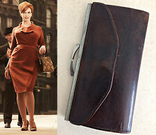 Vintage 50s 60s MAD MEN Era Womens Brown Real Leather Purse Wallet Kiss Clasp