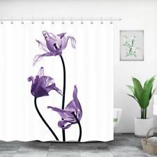 Flower Shower Curtain Bathroom Fabric Purple Tulips on White & 12 Hooks Set