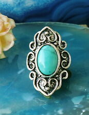 Ring in Vintage Style with Turquoise Coloured Stone Tibet Silver Ornaments