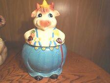 Vintage Farmer Cow Cookie Jar-  Made in Japan