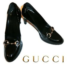 GUCCI ~ Classic Horsebit Patent Leather Heels  ~ US: 8.5 ; EU: 38.5 * AUTHENTIC
