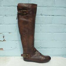 Nine West Cuero Botas Talla Uk 4 EUR 37 Mujer Zapatos Botas Marrón Plana