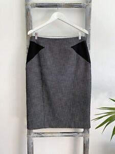 Cue City Twill Flecked Pencil Skirt with Contrast Sides - Size 14