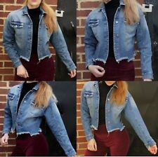 Denim JACKET Womens Jean Jackets LADIES Cropped Biker Waistcoat 8 10 12 14