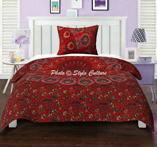 Red Peacock Mandala Duvet Quilt Cover Hippie Bohemian Twin Size Comforter Throw
