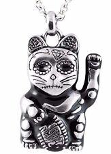 Maneki Neko Waving Cat Day of the Dead Good Luck Japan Pendant Necklace CN059